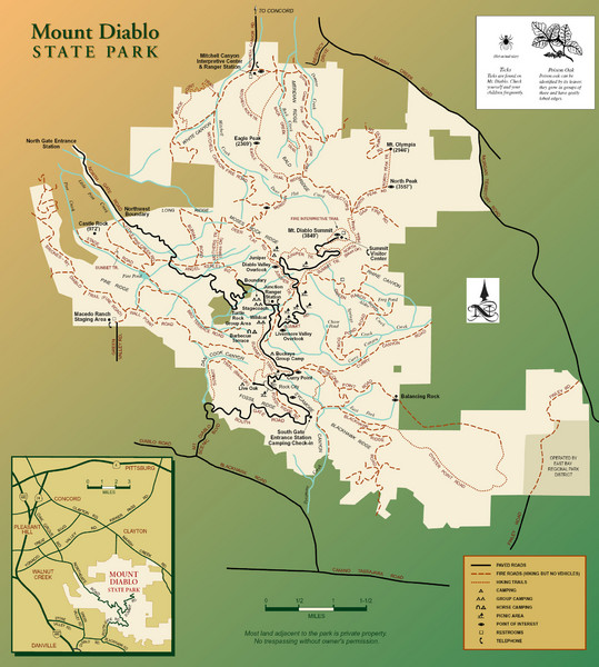 Mt. Diablo State Park Map