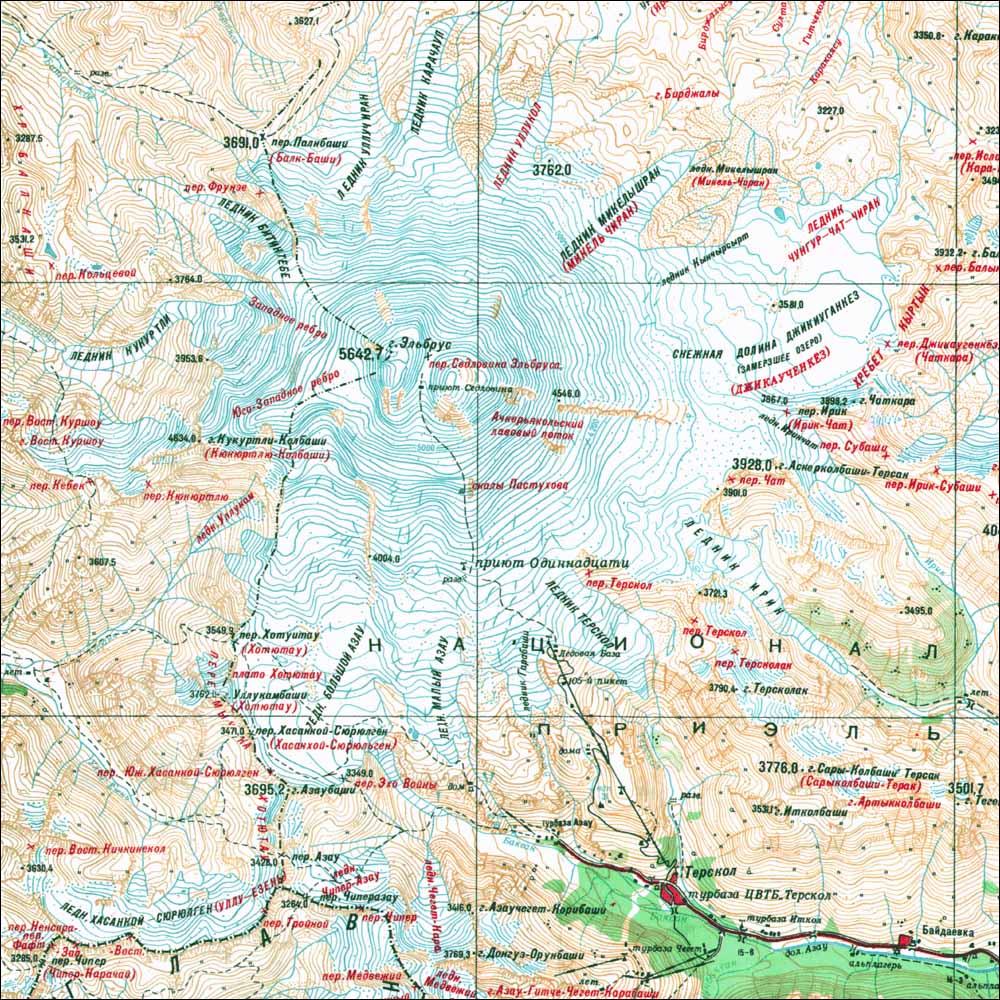 Mt Elbrus Geographical Map Mt Elbrus Russia Mappery - Mt elbrus map