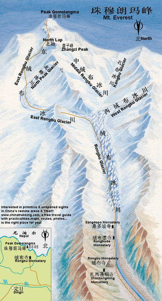 Mt Everest Rongbu Glacier Climbing Map