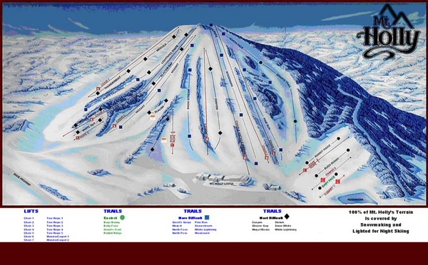 Mt. Holly Ski Area Ski Trail Map