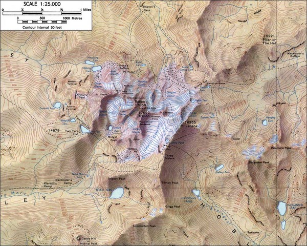 Topographical map of Mt. Kenya, the second highest mountain in Africa at