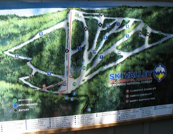 Mt. Lemmon Ski Valley Ski Trail Map