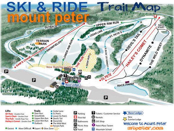 Mt. Peter Ski Area Ski Trail Map