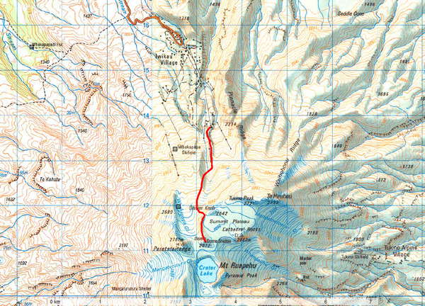 Mt Ruapehu Topo Route Map