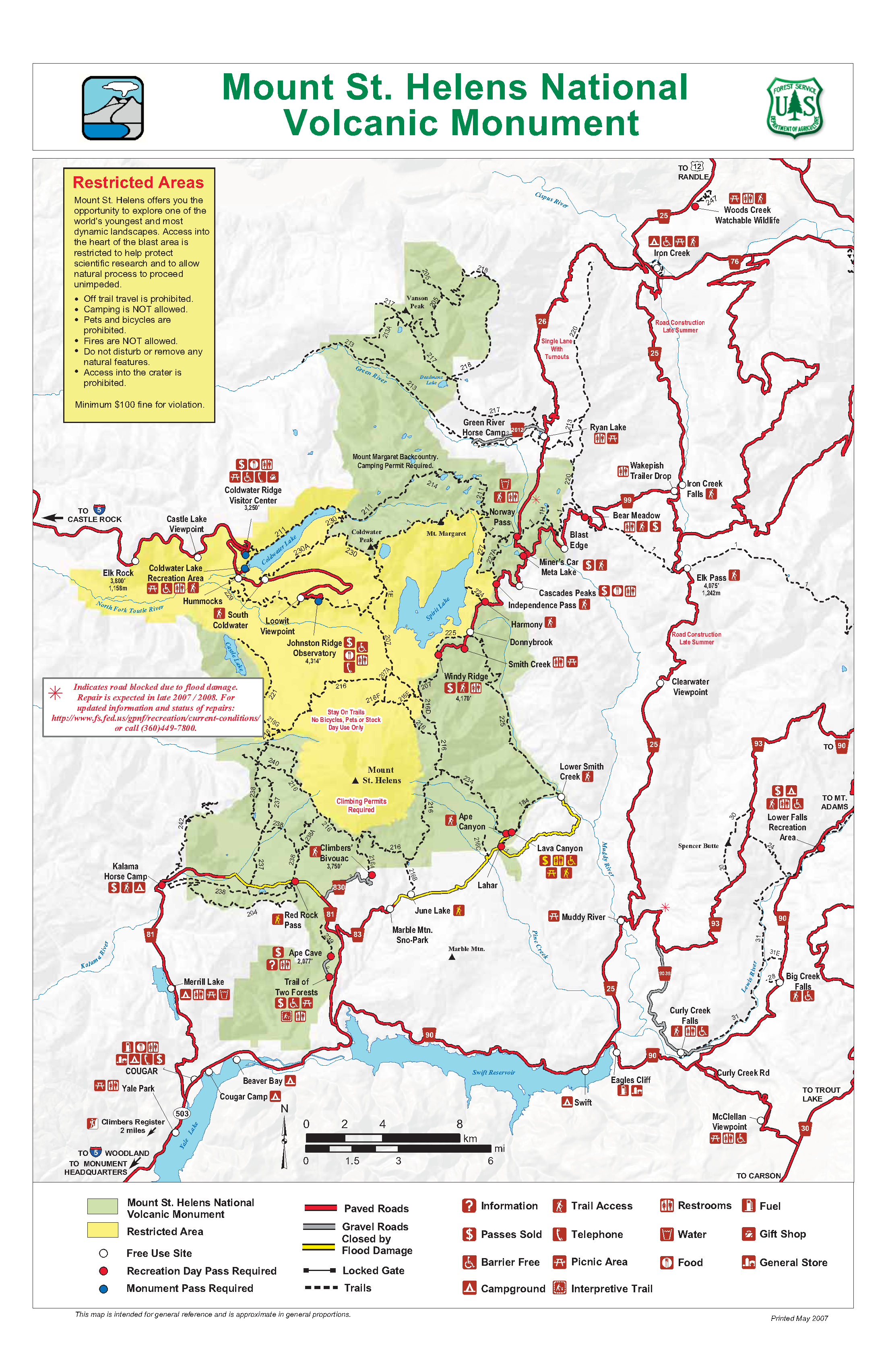 Mt Saint Helens National Volcanic Monument recreation map mappery
