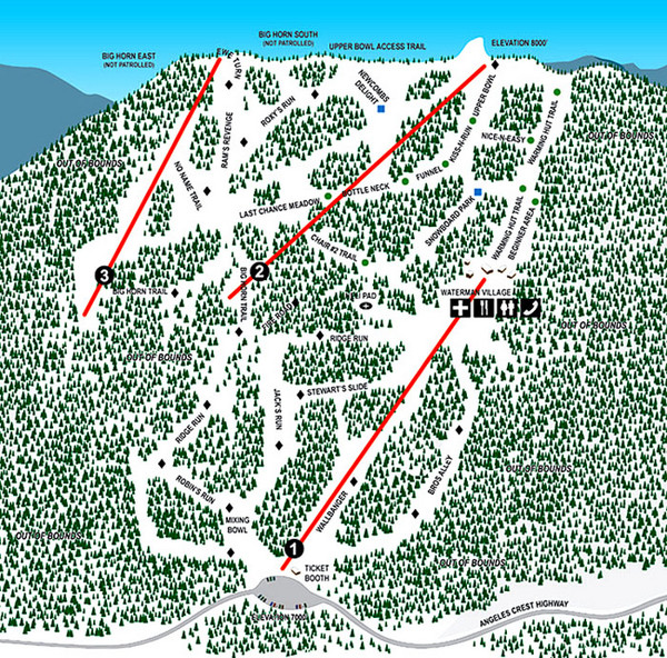 Mt. Waterman Ski Trail Map