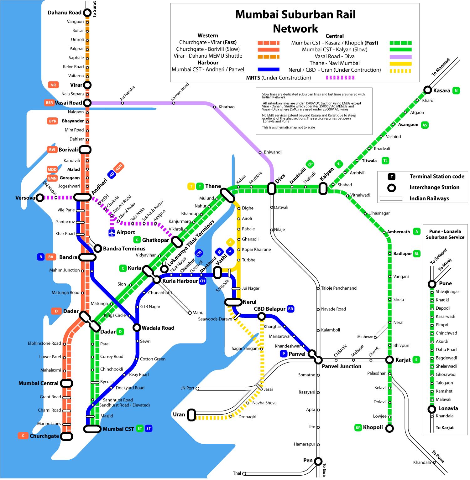 Mumbai Suburban Rail Map - Mumbai India • mappery