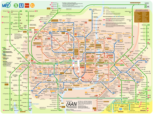 Munich Public Transportation Map Munich mappery – Munich City Map Tourist