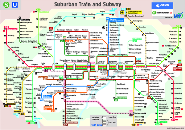 Munich Subway Map.Munich Public Transportation System Map Munich Germany Mappery