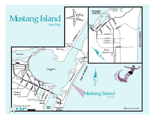 Map Of Texas Islands.Mustang Island Texas State Park Map Mustang Island Texas Mappery