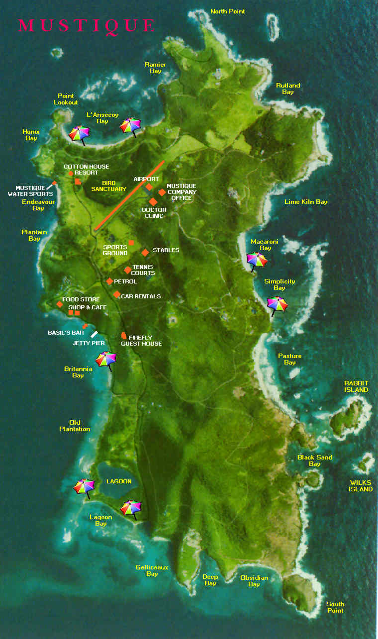 Island Of Mustique Map