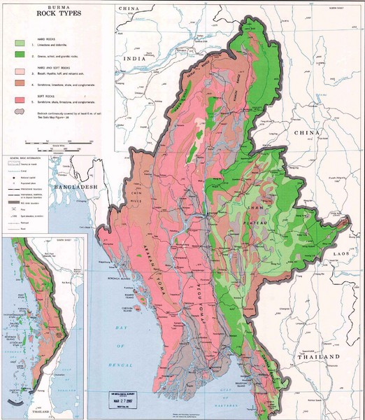 Myanmar (Burma) Rock Types Map
