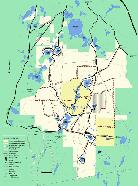 Myles Standish State Forest Winter trail map