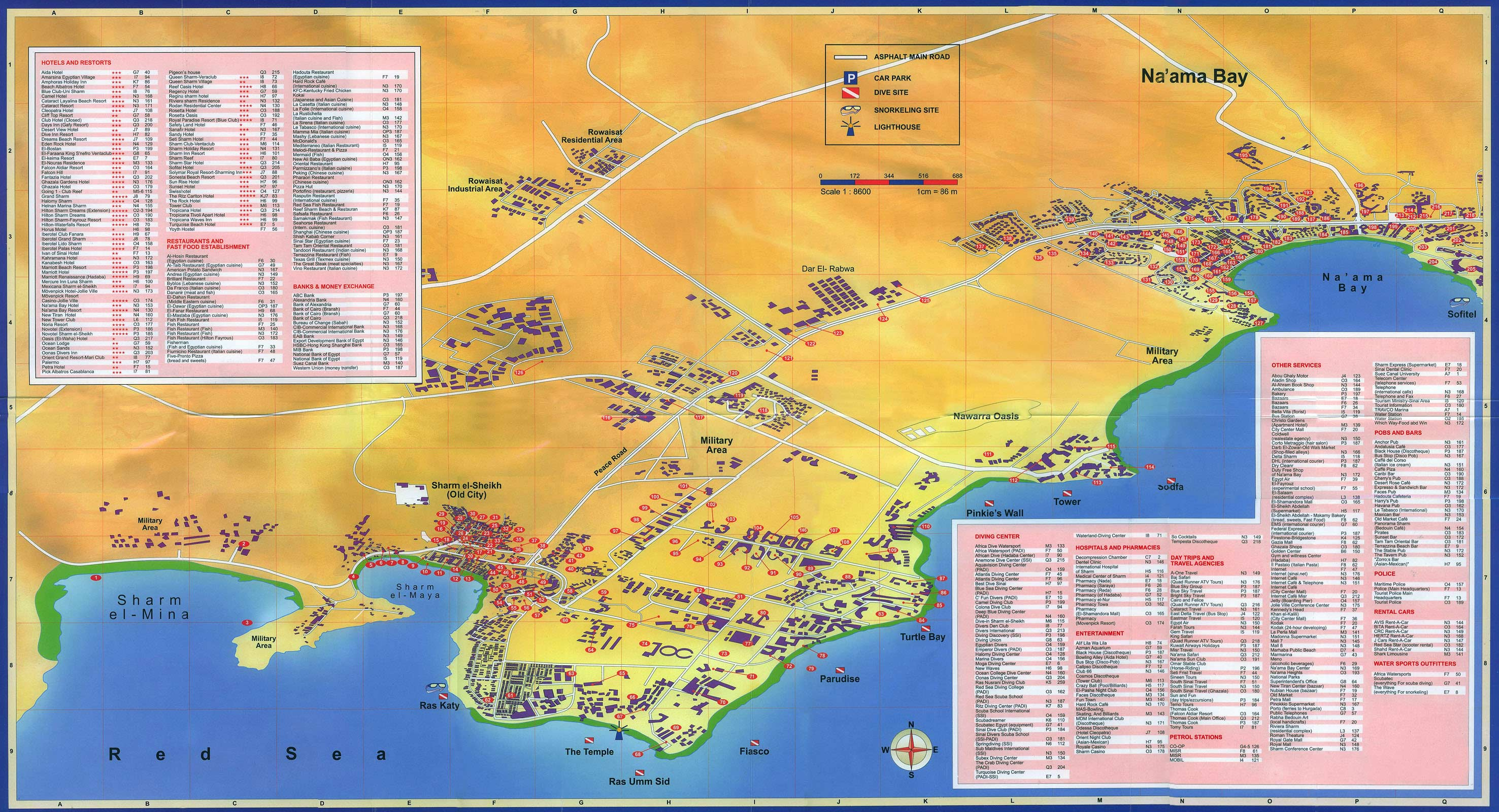 Naama Bay Egypt Tourist Map Sharm el Sheikh Egypt mappery