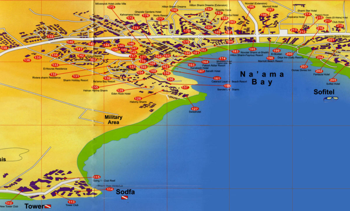 Naama bay map of hotels