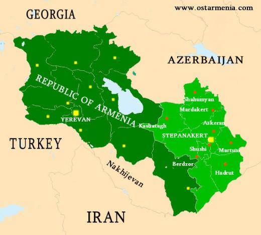 Nagorny Karabakh and Armenia Map Nagorny Karabakh Armenia mappery