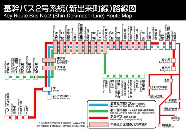 Nagoya City Bus Shin Dekimachi Line Map