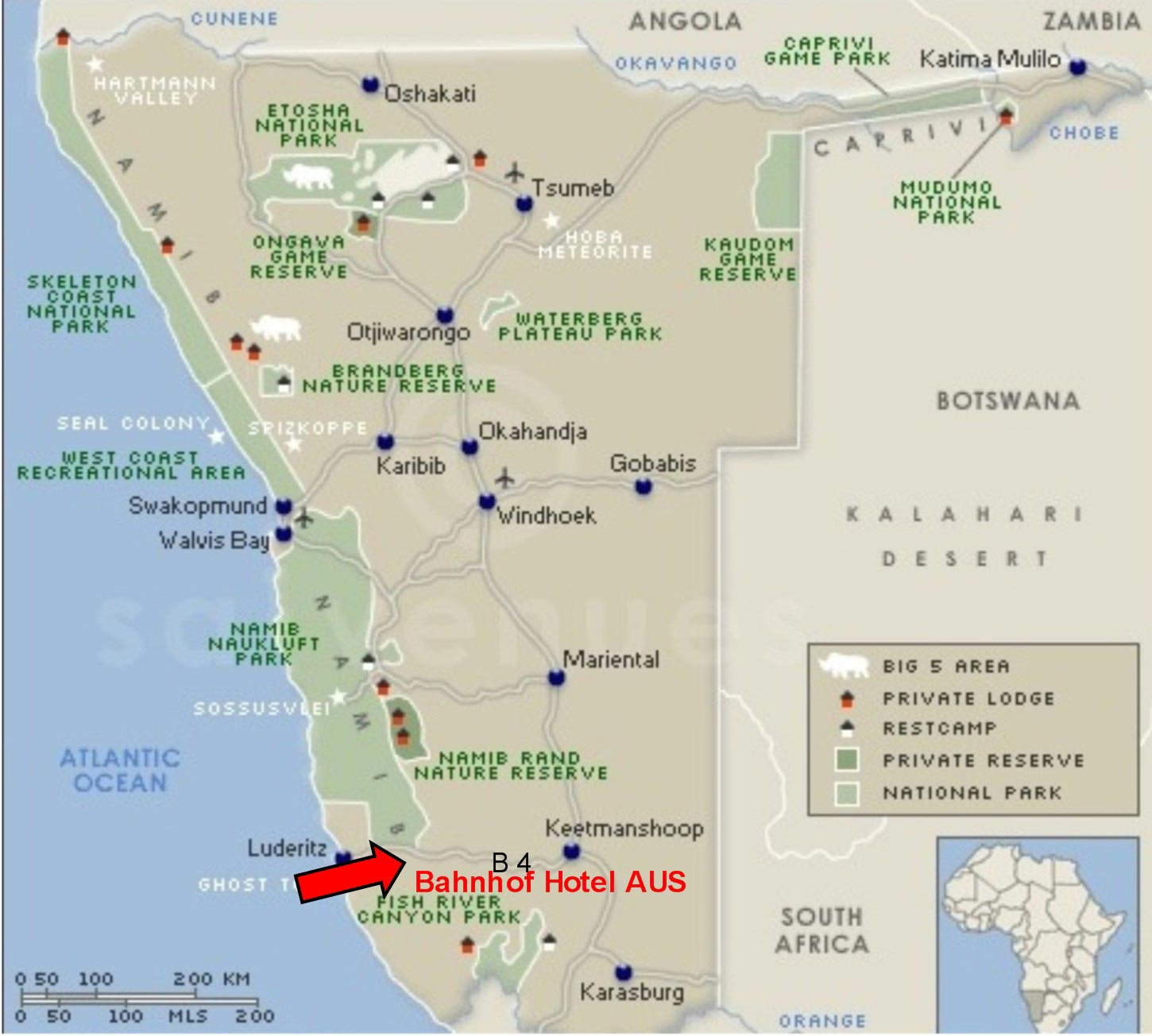 Namibia Hotel Map Windhoek mappery