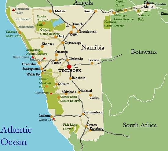 Namibia Tourist Map Namibia mappery