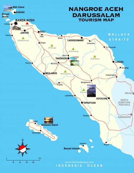 Nangroe Aceh Darussalam Tourist Map