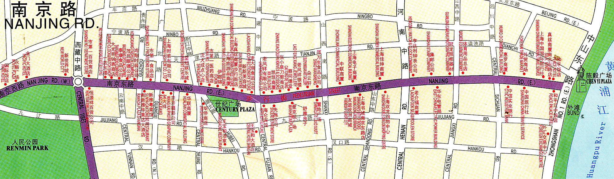 Nanjing Road In Shanghai Tourist Map Shanghai China Mappery