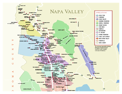 Napa County Wineries, California Map