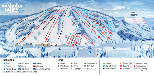 Nashoba Valley Ski Area Ski Trail Map