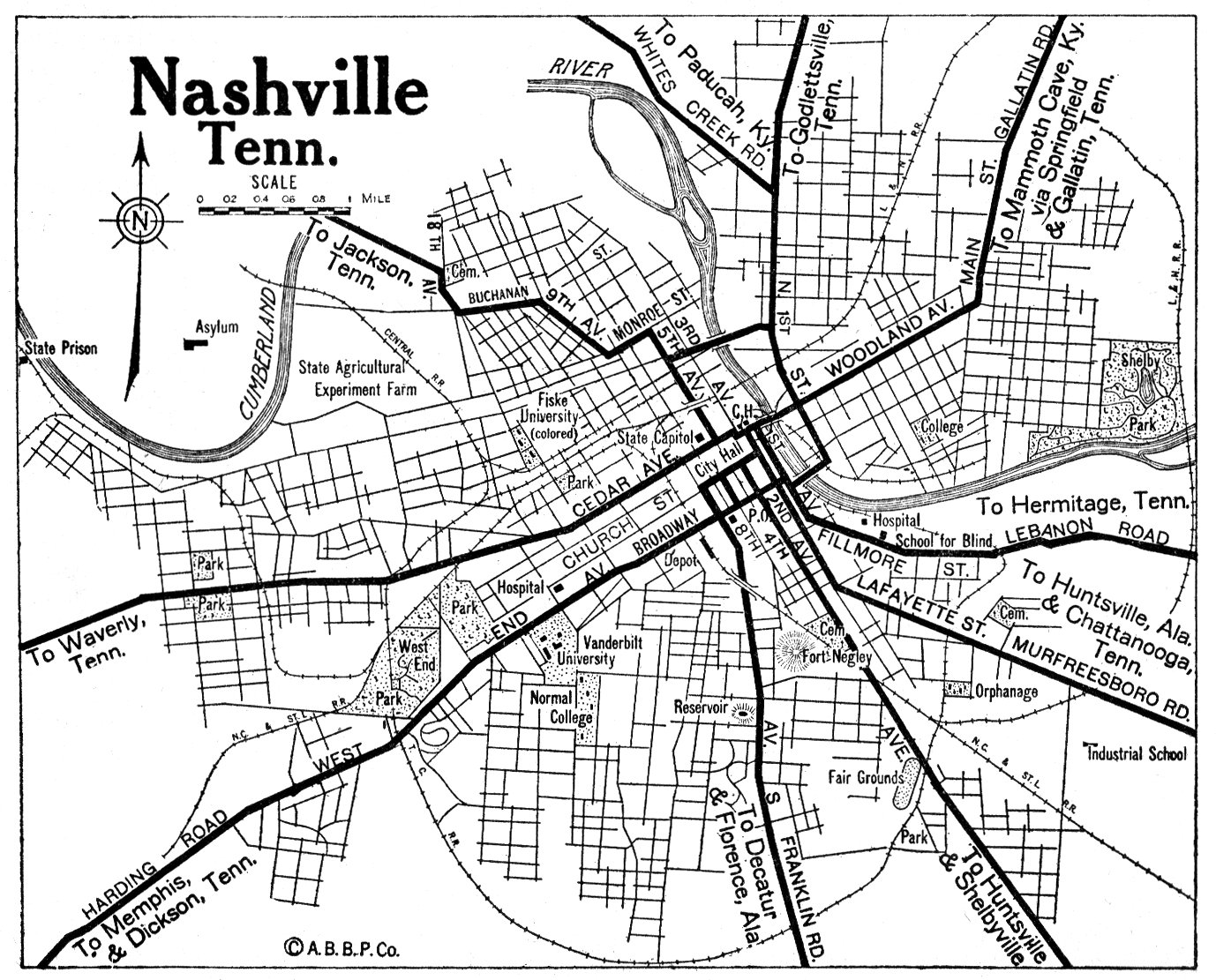 Nashville City Map - Nashville Tennessee • mappery on