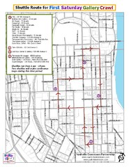 Nashville First Saturday Gallery Crawl Shuttle Route Map