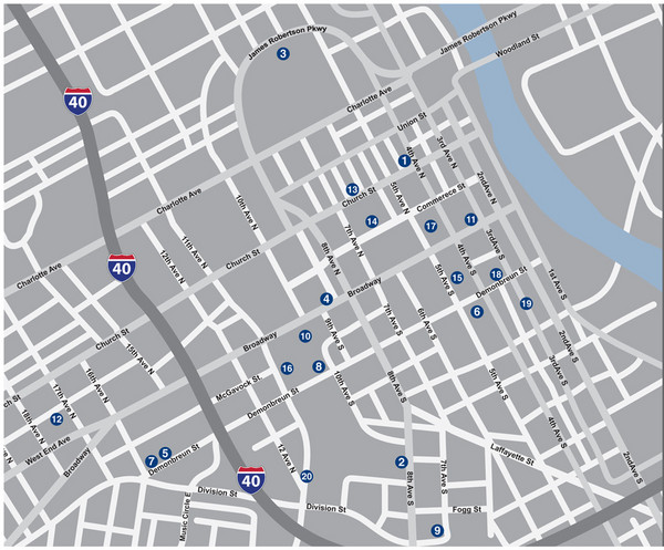 Downtown Nashville TN Tourist Map Nashville TN mappery – Nashville Tourist Map