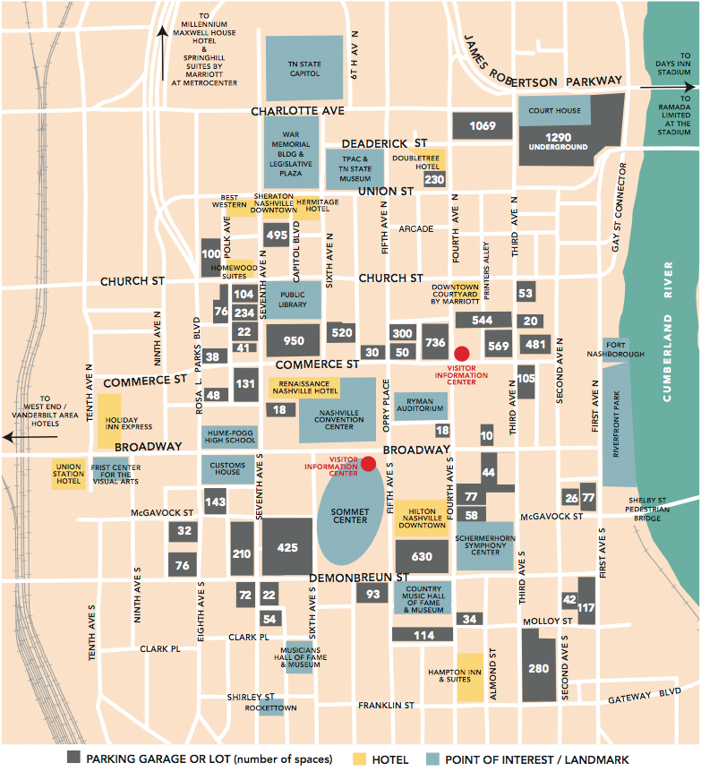 Nashville TN Tourist Map - Nashville TN • mappery