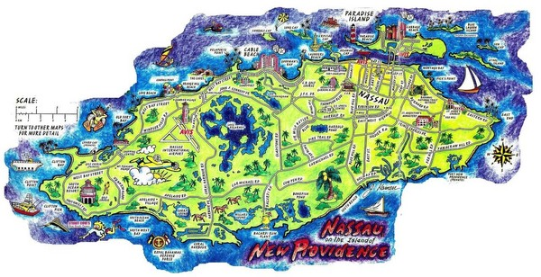 {Bahamas maps mappery – Nassau Bahamas Tourist Map