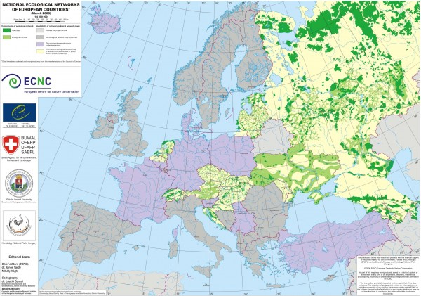 National Ecological Networks of European Countries Map