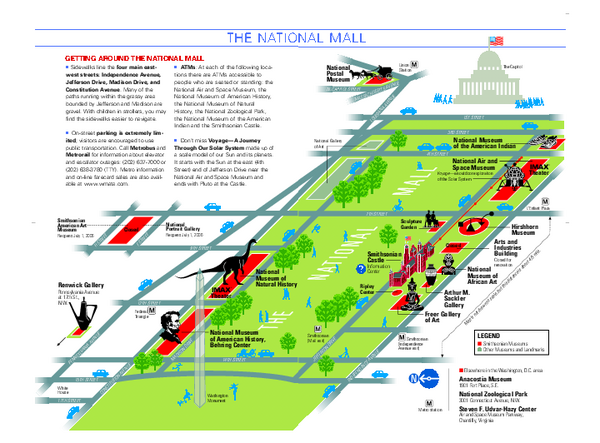 National Mall in Washington DC Map Washington District of – Washington DC Tourist Map