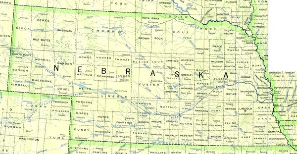 Nebraska Counties And Rivers Map Nebraska Mappery - Nebraska rivers map