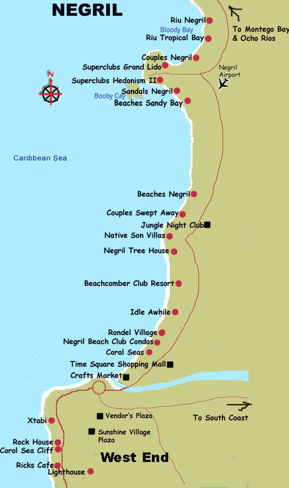 Negril Coastal Map negril jamaica mappery