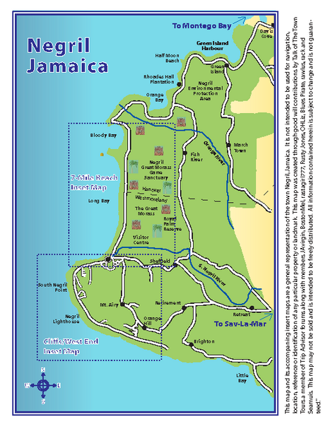 Negril Tourist and Beach Maps Map