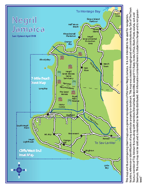 Negril tourist map (updated April 2008)