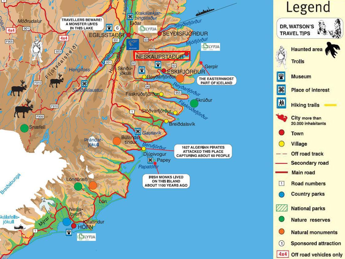 Neskaupstadur Area Tourist Map Neskaupstadur Iceland mappery – Iceland Tourist Map