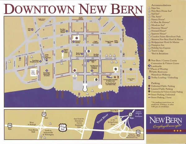 New Bern Map Downtown New Bern NC USA mappery