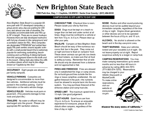 New Brighton State Beach Campground Map