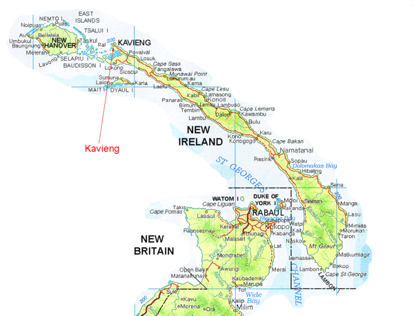 New Ireland And Kavieng Map Papua New Guinea Mappery