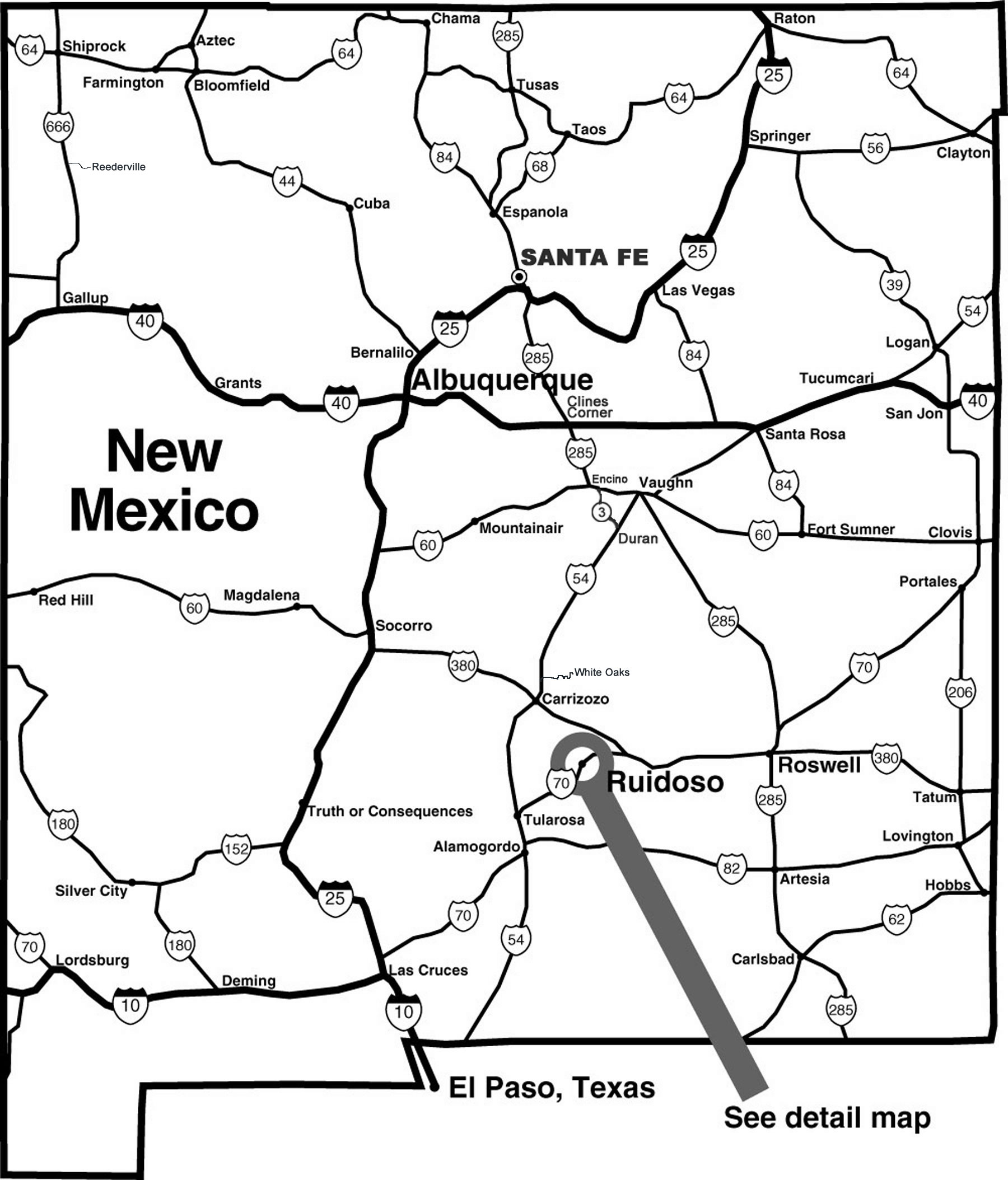 New Mexico Tourist Map New Mexico mappery