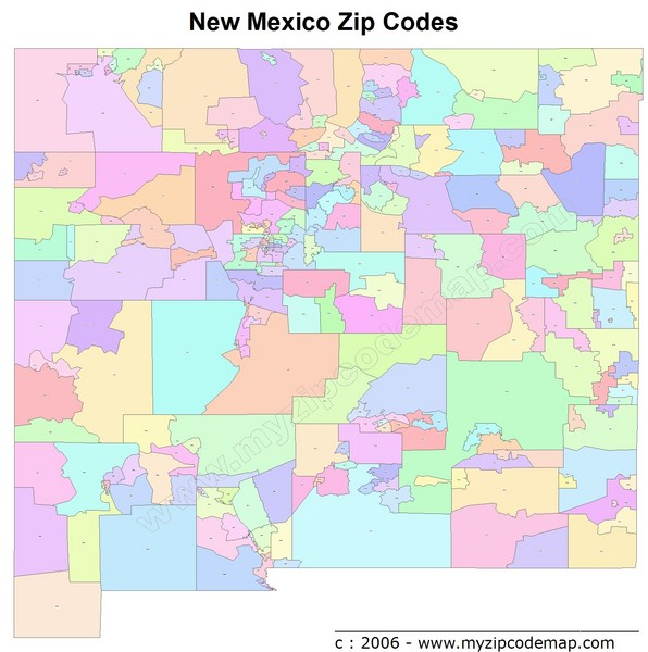 New Mexico Zip Codes Map  New Mexico  Mappery