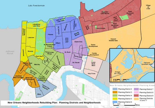 New Orleans Districts Map - New Orleans LA • mappery on
