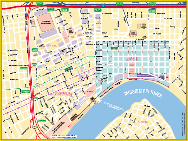New Orleans French Quarter Street Map  New Orleans Louisiana