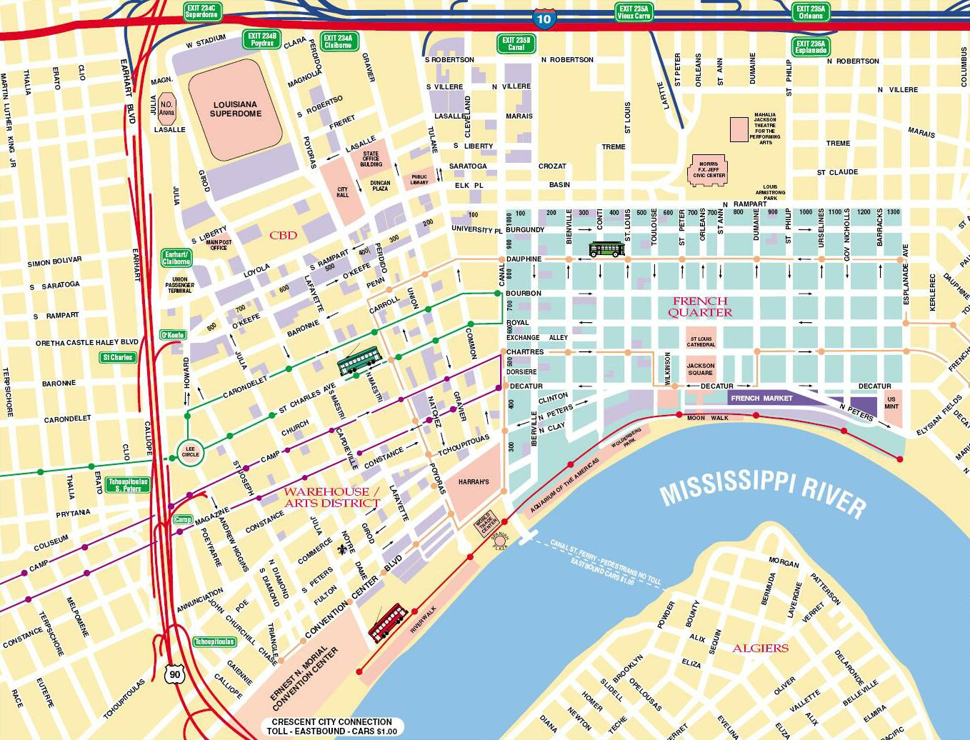 Gutsy image in printable map of new orleans