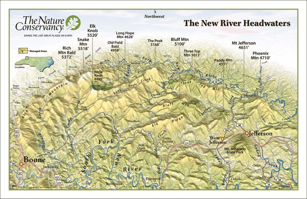 new river headwaters panorama map  boone north carolina • mappery -
