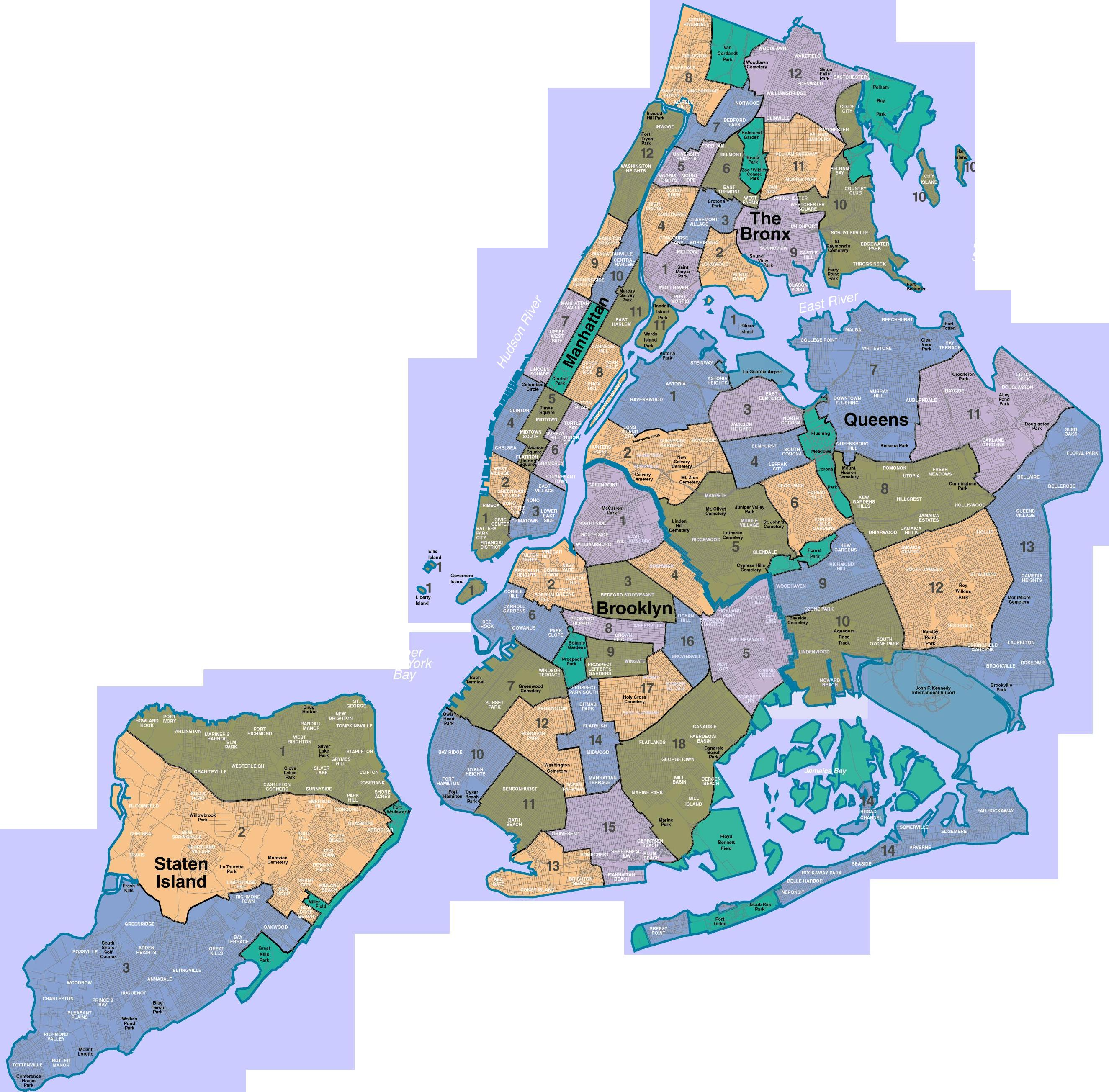 New York A City Of Neighborhoods Map New York NY Mappery - New york city map with neighborhoods