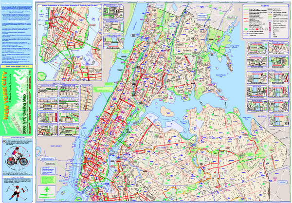 new york map city. Cycling map of New York City